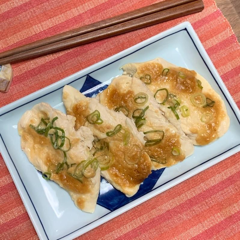 レンジで簡単☆鶏ささみの味噌マヨ蒸し