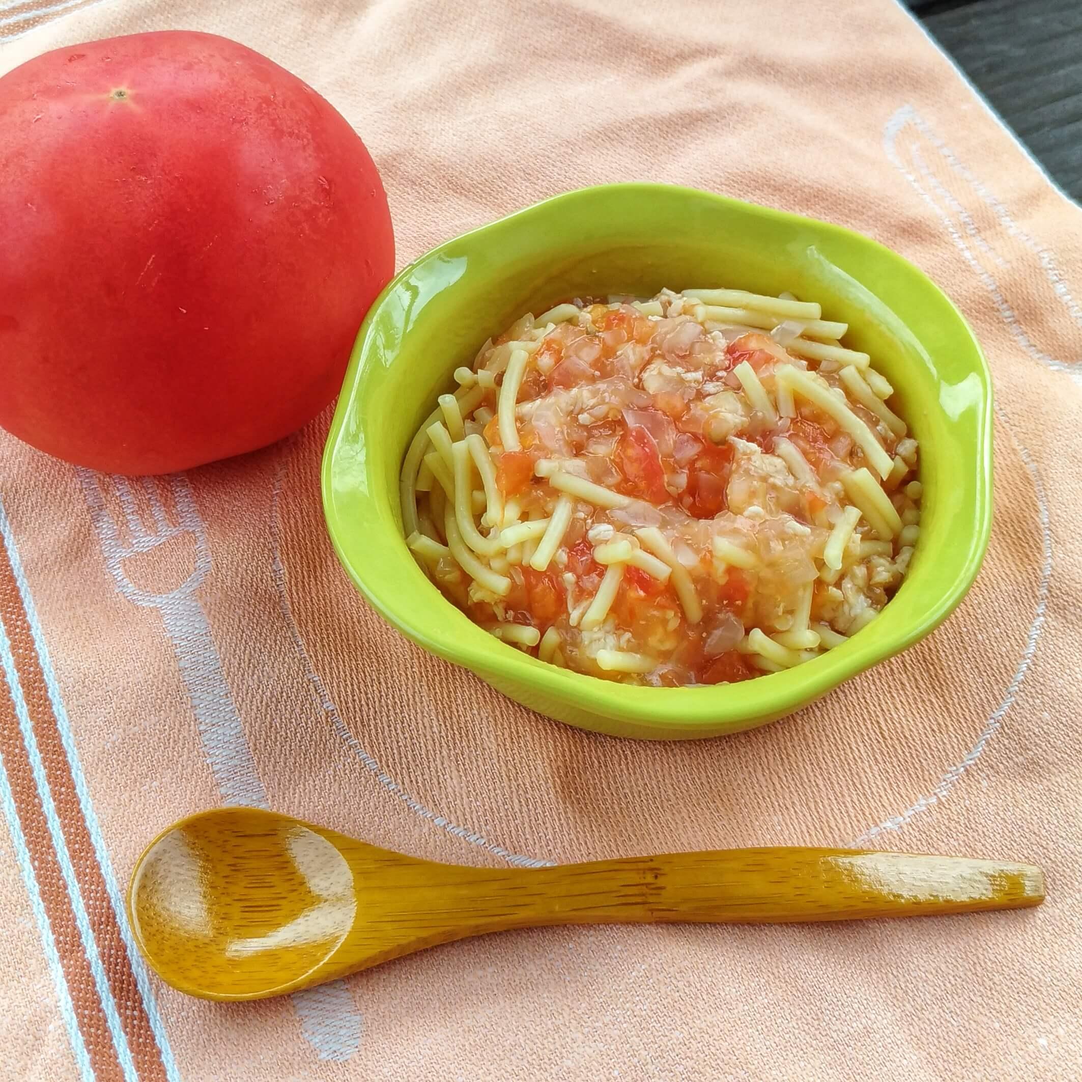 (離乳食後期)トマトとささみのスパゲッティ