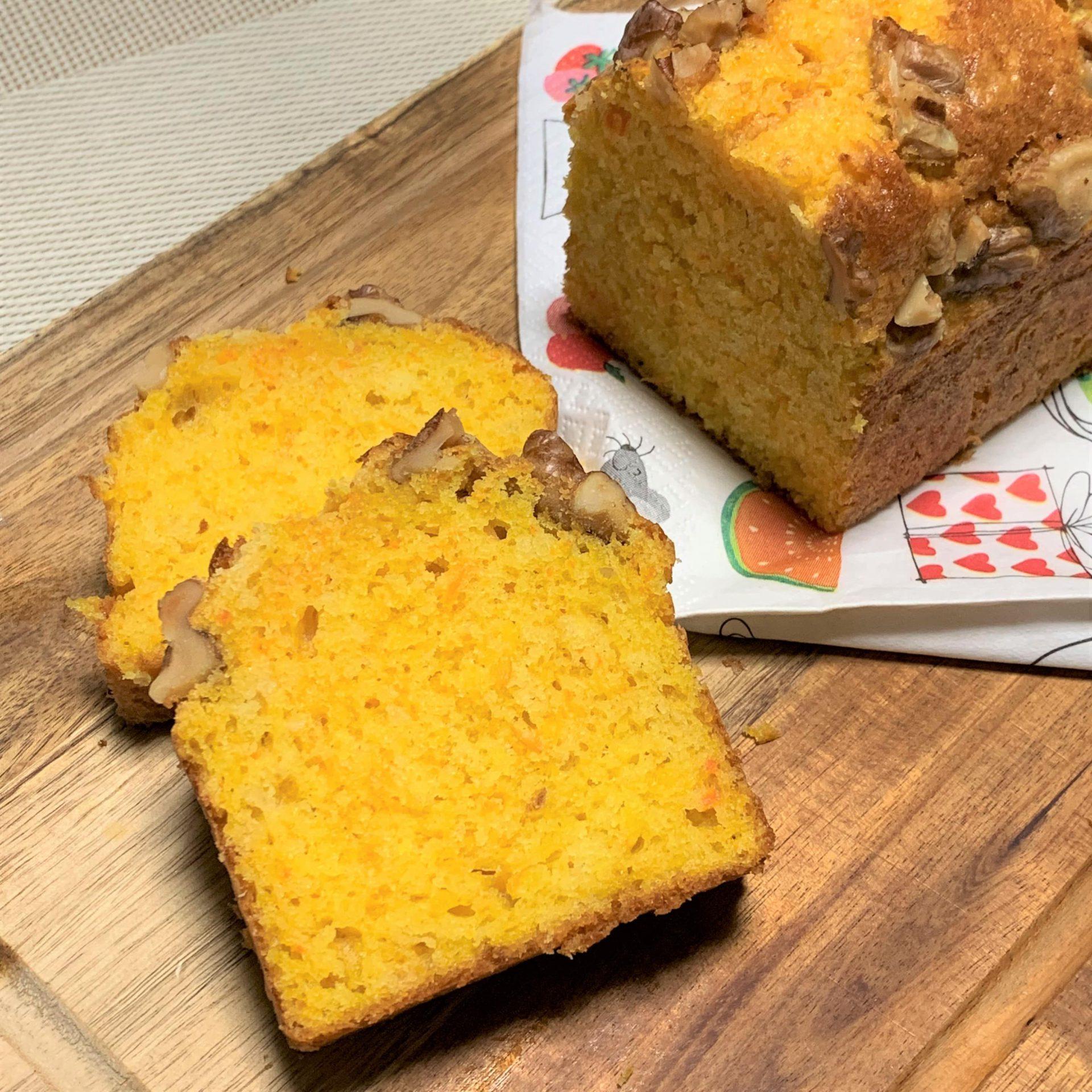 ヘルシー簡単おやつ☆クルミとニンジンのパウンドケーキ