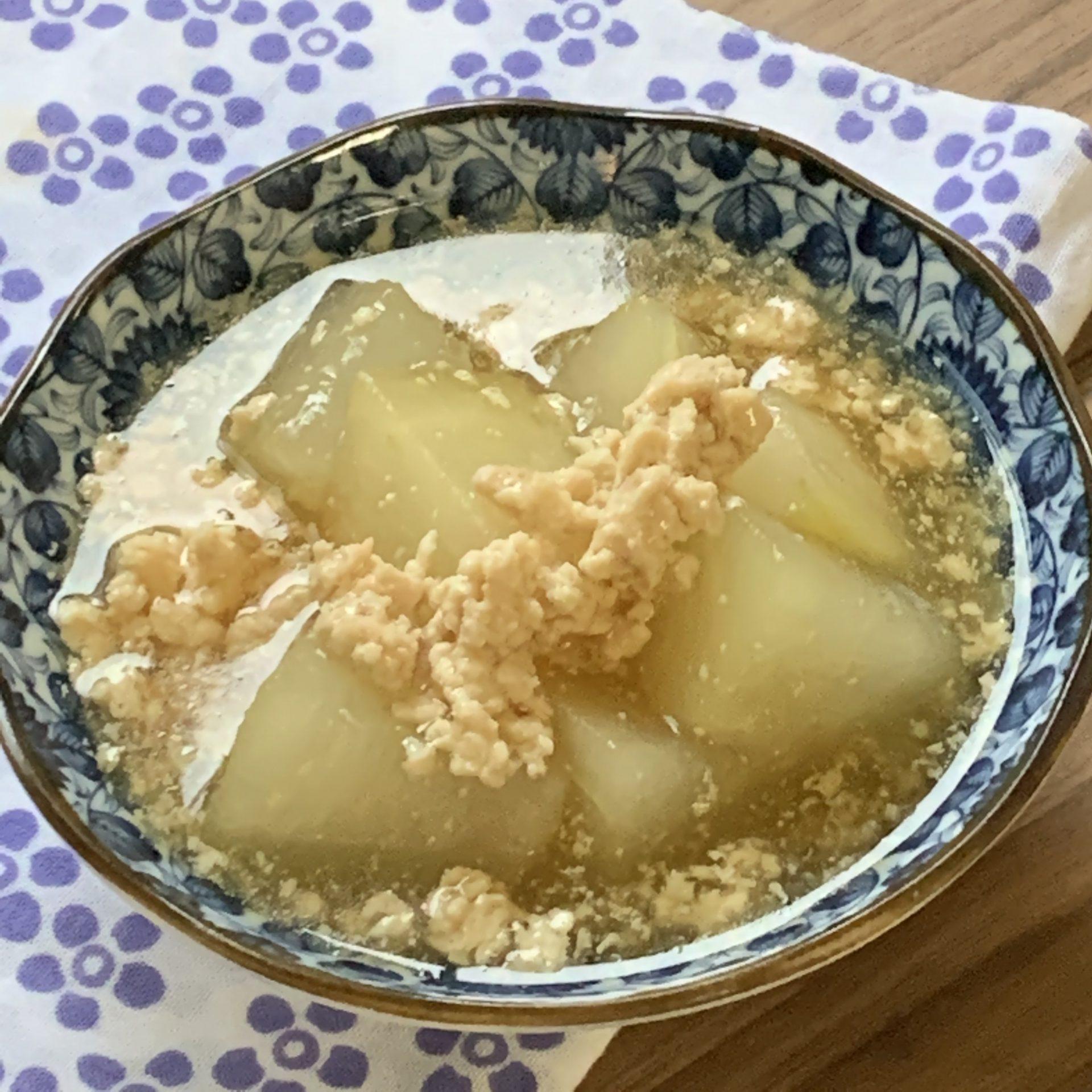 夏の和惣菜☆冬瓜の鶏ひき肉のあんかけ