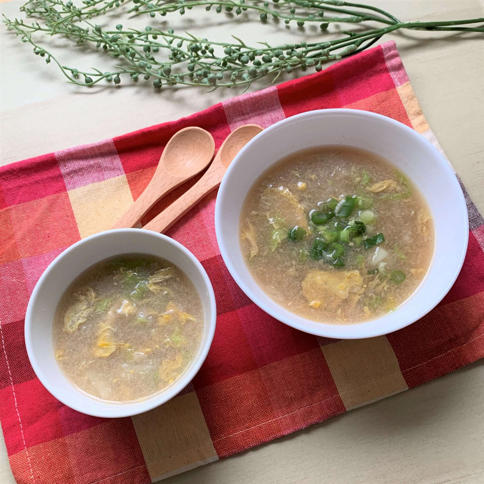 親子で取り分け☆すりおろしレンコンの中華しスープ