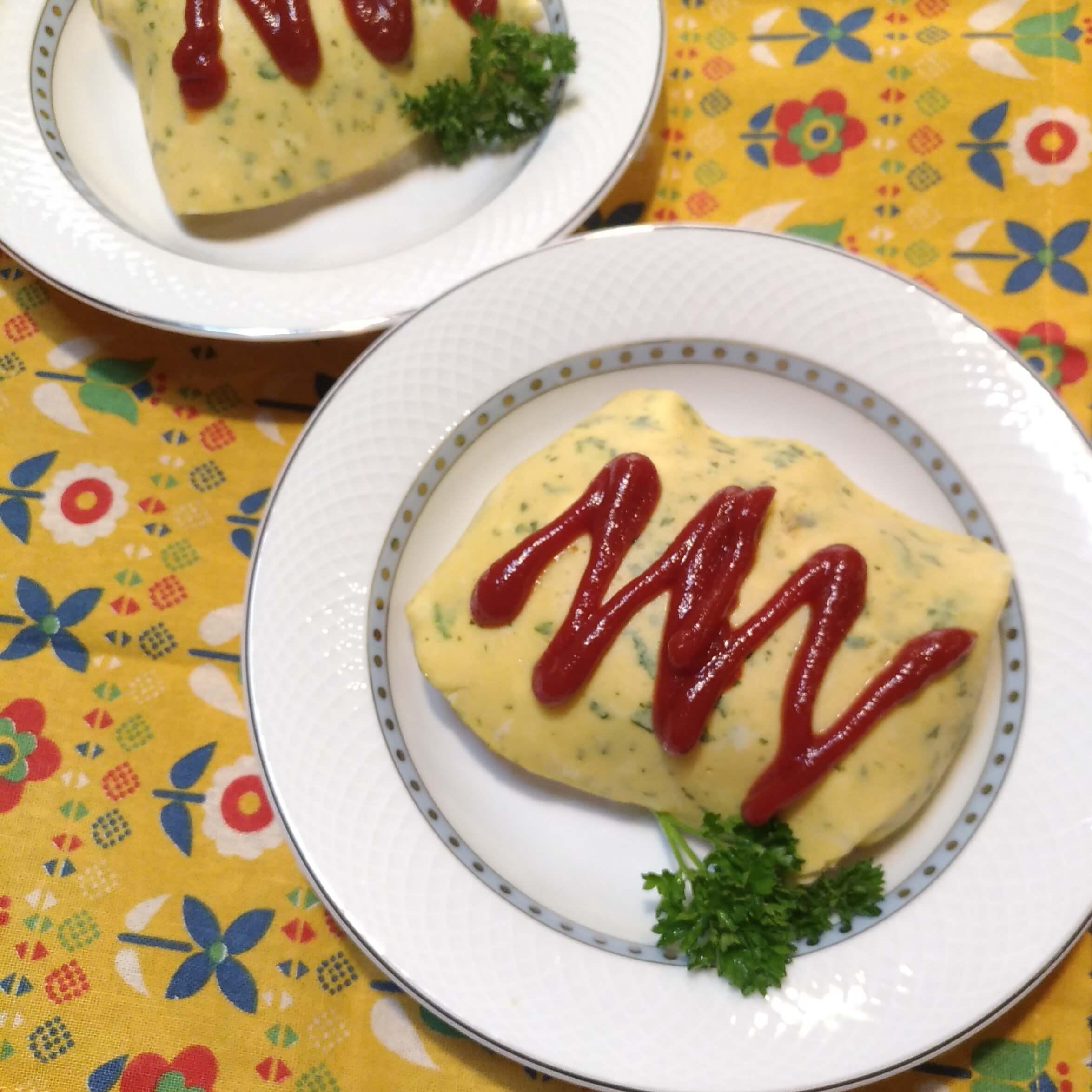 バターご飯で作るパセリ模様のオムライス