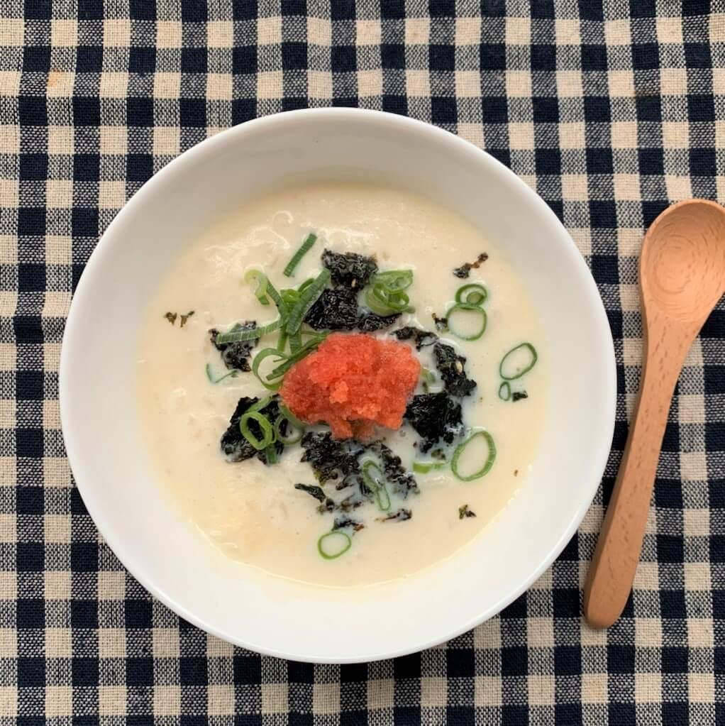 レンジで簡単☆豆乳とたらこの雑炊